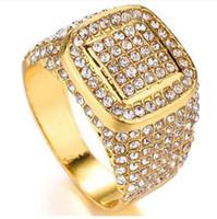 Anelli di cristallo dell'oro di colore dell'oro di luppolo di Bling di luppolo di salto di colore dell'oro Anelli di cerimonia nuziale dell'acciaio inossidabile degli uomini per i formati degli Stati Uniti 6-10