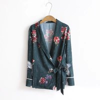 deep v neck vintage floral blouse women tops with sashes shi...