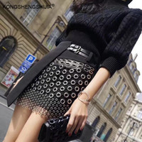 New women mini skirt punk rock metal ring hollow out leather...