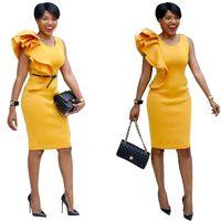 NEUE Schulter Rüschen Rüsche Kleid Büro Gelb Blau Schwarz Cocktail Ärmellos Asymmetrische Bodycon Bleistift Midi Plus Size 6XL Kleid