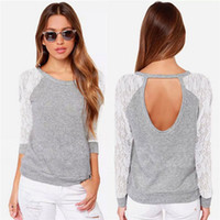 Women Lace Patchwork Tshirts Spring Autumn Back Holes Casual...
