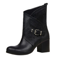 Winter Women' s boots with hollow belts with buckles wit...