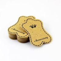 Großhandel 200 teile / los Braun Schmuck Display Verpackung Karte Crown Design Papier Karte Fit Für Ohrring Verpackung Kostenloser Versand