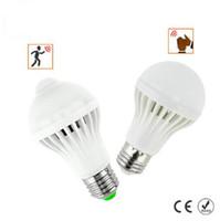 Bombilla LED del sensor de movimiento PIR 5W / 7W E27 + bombilla LED del sensor del sonido 5W / 7W elegante auto del bulbo infrarrojo del cuerpo de luz de lámpara AC85-265V