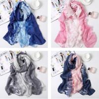 Belle mode foulard dégradé 180 cm * 90 cm foulard en soie en mousseline de soie dame luxe automne longues écharpes étoles douces foulard