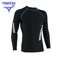NUEVA camisa masculina de la erupción del protector Hombres camiseta de manga larga traje de baño wakeboard flotante Tops Natación UV RashGuard Sunscreen traje de buceo