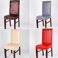 Waterproof PU Dining Chair Covers Solid Elastic Stretch Faux Leather Chair  Cover Universal Home Restaurant Chair Covers