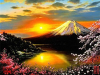 Diamond embroidery Sakura Lake Mt Fuji diy diamond painting ...