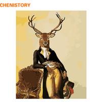 CHENISTORY Gentleman Mr Deer DIY Pintura por números Animales pintados a mano Pintura por números Kits Inicio Imagen de arte de pared Navidad