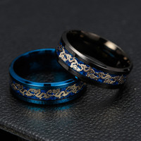 whole saleBlack Blue Ring Men Chinese Traditional Gold Drago...