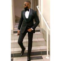 Popular 3 Peça Groomsmen Xaile Lapela Do Noivo Smoking One Button Men Ternos de Casamento / Prom Melhor Blazer Homem (Jacket + Pants + Vest + Tie)