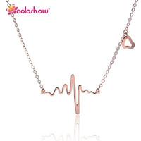 ROSE EKG-Halskette mit vergoldetem Stahlherzschlag für Frauen Statement Edelstahlanhänger EKG-Stab-Herz-Halskette, Nl-24561