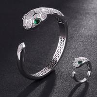 تيريزا الأخضر الزركون مكعب الأفعى الحيوان سوار للرجال مجوهرات العلامة التجارية مكعب زركونيا مجوهرات آنيل الرجال الذكرى