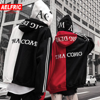 AELFRIC Doppelte mit Kapuze Fleece Streetwear Brief Print Hoodies Sweatshirts Neue Design Winter Warme Hip Hop Skateboard Hoodie QA27