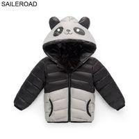 Saileroad 3-8 años de dibujos animados panda cosplay traje invierno niños niños ropa exterior blanco pato abajo abrigo muchachos cálidos niñas abajo chaqueta abajo