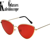 Кошачий глаз Солнцезащитные очки женщины металлический каркас солнцезащитные очки женские глаза сладкий симпатичные очки тенденция дамы открытый личности солнцезащитные очки