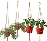 New Patio Hemp Rope Braided Hanger Pot Green Plant Flower Po...