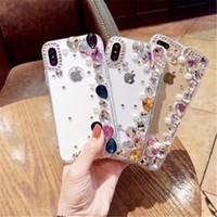 Для iPhone 8 Plus iPhone X Case красочные Алмазный Кристалл роскошные Bling стразами PC TPU крышка телефона Case для Samsung S8 Plus Note8