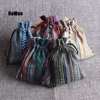 Nya påsar 50st Multi Colors Stripe Tribal Tribe Drawstring Smycken Giftväskor Bomullduk Kinesisk etnisk stil 9x13cm