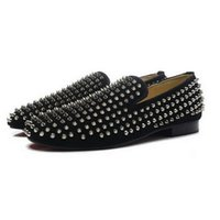 New Mens Women Spiked Black Suede Dress Shoes, designer Brand...