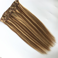 CAPELLI ELIBESS -Clip nelle estensioni dei capelli umani 100g 7 pezzi / set Onda dritta Piano Colore # 8/613 27/613 Clip sui capelli umani