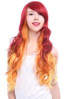 Starfire Cosplay Perücke Frauen Lange Wellenförmige Welle Lockige Perücken Feuer Orange Rot Ombre Haar