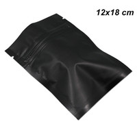 12x18 cm 100 Pz Matte richiudibile sigillatore di calore mylar Bag Black Zipper Food Preparation Attrezzature di alluminio imballaggio del sacchetto di snack