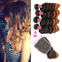 3 Tone Ombre Bundles with Closure Brazilian Virgin Ombre Loo...