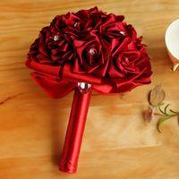 Satin Rose Wedding Bridal Bouquets Fiori fatti a mano Fiori Artificiali Rosa Cristalli di nozze Forniture da sposa Sposa Holding Flowers Brooch Bouquet CPA1589