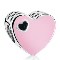 Sweet Love Heart Charms Beads 925 Sterling-Silver-Jewelry Pink Esmalte Heart Bead DIY Valentine's Day Charm Bracelets Accesorios HB594