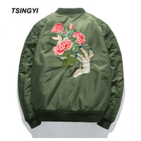 Tsingyi Весна куртки Мужчина вышивка роза Цветочной Ветровка Bomber Jacket Стенд Воротник Вест Militaire Homme Мужские пальто