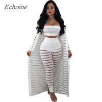 2018 Sexy Hollow Out 3 Pieces Set Womens Strapless Crop Top ...