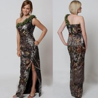 2018 Camo Bridesmaid Dresses One Shoulder Summer Beach Split...