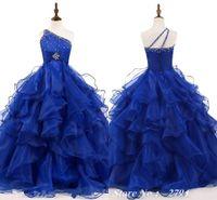 2021 Royal Girls Pageants Vestidos Un Hombro Ruffles Puffy Ball Vestido Crystal Beading Formal Kids Vestidos de fiesta Flor Vestidos