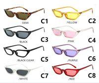 2018 europeus e americanos na moda óculos de sol pequeno quadro transparente olho de gato de bico afiado óculos de sol 7 cores pode escolher SUNGLASS.