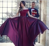 Burgundy A- line Off Shoulder Long Evening Dresses 2019 Beade...