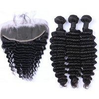 Malaysian Deep Wave Human Hair Weaves 3 Bundles With Lace Fr...
