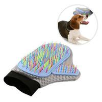Кошка собака уход перчатка эластичный Радуга красочные изгиб Neddle резиновая щетка для очистки для массажа аксессуары для домашних животных