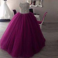 써니 스파클리 아가 하트 볼 구슬 Quinceanera 드레스 실제 사진 얇은 명주 그물 층 길이 민소매 푹신한 긴 스위트 16 드레스
