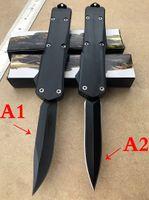 도매 OEM 블랙 손잡이 방어 자동 나이프 (스타일의 2 종류) 경량 생크 튼튼한 봄 블랙 블레이드 전술 접는 나이프