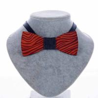 Nueva moda Vintage Rosewood Bow Ties tallado a mano cebra grano para caballero boda Bowtie de madera envío gratis