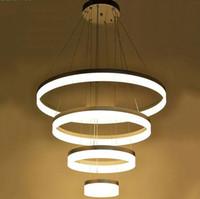 76W Aluminio acrílico Led lámparas de luz para salón D20 D40 D60 D80cm 4 anillos araña grande grande lustres modernos LLFA