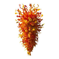New Arrive Art Decor Murano Blown Glass Chandeliers Red Yell...
