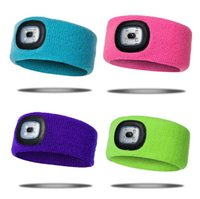 Rechargeable LED Flashing Headband Wrap Knitted Light For Ou...