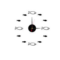 Frameless маленькая рыба настенные часы 3D настенные часы большой немой акриловые наклейки для гостиной Спальня украшения дома