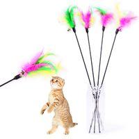5pcs Cat brinquedos macios colorido do gato Feather Sino Rod Toy para gatinho do gato engraçado que joga Supplies Interativo brinquedo de estimação
