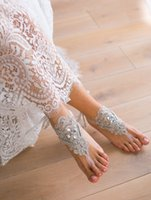 Custom Made Elegant Lace Beach Wedding Barefoot Sandals Ankl...