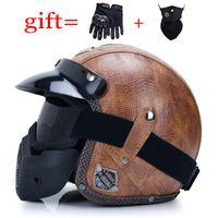 Neuestes Leder 3/4 geöffnete Gesichts-Motorrad-Sturzhelm-Klassiker Kreuzer Chopper Scooter Retro Helm Cafe Motorrad