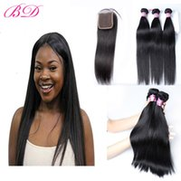 BD Hair Indian Hair Straight Body Wave Bundles With 4x4 Clos...