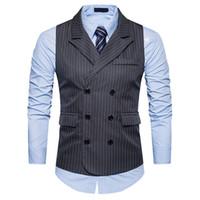 Dikey Çizgili Elbise Yelek MenTurn-aşağı Yaka Kruvaze Kolsuz Yelek Erkek Casual Suit Yelek İş Yelekler Toptan